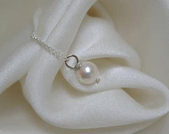 Chain with saltwater Akoya pearl drop shape silver925 necklace with salt water Akoya pearl drop form Silber925