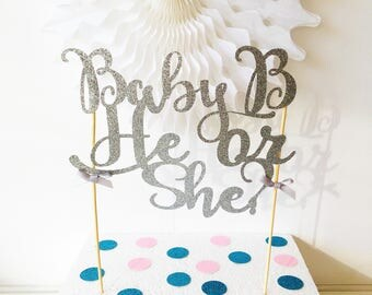 He or She Cake Topper, Baby Shower Cake, Gender Reveal, New Baby Congratulations, Glitter Cake Topper, Party Supplies, Mum To Be