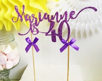 Name Cake Topper, 40th Birthday, Custom Age, Name, Colour - 18th, 21st, 30th, 40th, 50th, 60th, Party decorations, Cake Decor, Personalised