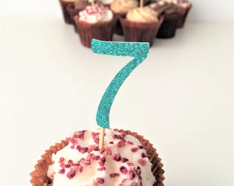 Cupcake Number Topper. Seven. Seventh Birthday Party. Glitter Toppers. Set of 10 Party Picks. 7th Birthday. Cake Accessories. Centrepieces.
