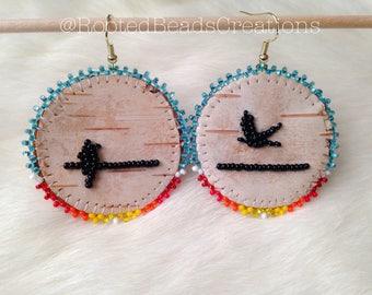 "Native American ""Birds On A Wire"" Beaded Earrings"