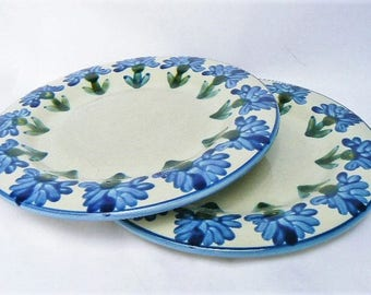 """Two Louisville Stoneware Dinner Plates - Bachelor Button Cornflower Pattern Hand-painted Blue Flower Design Ceramics Made in USA Pottery 11"""""""