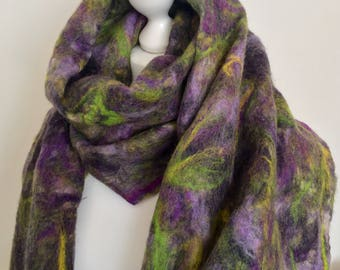 Wool Felted Scarf  Wool Felted Accessorys    Wool Felted Shawl  Merino Wool Wrap