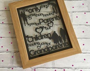 Grandparent papercut, grandparent gift, parent gift, grandma gift, grandad gift, christmas gift, best grandparents, Mother's Day, keepsake