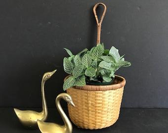 Vintage Hanging basket, rattan wall basket, woven basket ladle, wicker basket planter, bamboo wall hanging planter,