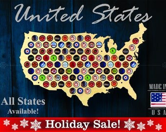 United States Beer Cap Map USA - SALE! - Unique Christmas Gift - Beer Cap Holder Beer Cap Display Gift for Him Wedding Gift Fathers Day