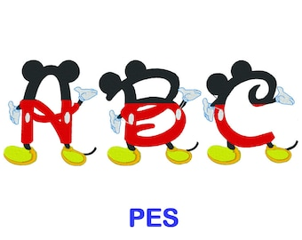 Mickey Mouse Embroidery Font - Disney - PES Format Embroidery Alphabet - Embroidery Letters - Brother - Machine Embroidery Designs Patterns