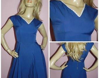 Vintage 50s Navy Blue White Lace trim TEA Dress 8-10 S SWING 1950s Mid Century