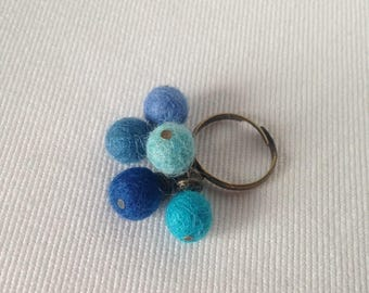 Blue felted wool ball chic bohemian ring turquoise and dark sky and bronze metal