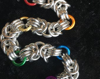 Rainbow Byzantine Chainmaille Necklace/Choker