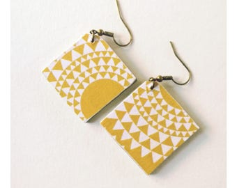 Geometric earrings, dangle earrings Scandinavian graphic earrings, mustard yellow earrings