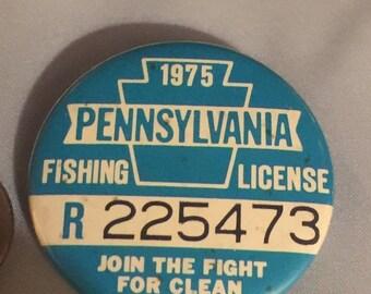 WOW SALE : 1975 Pennsylvania Fishing Button
