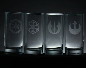 Star Wars inspired drinking glass set - Rebel Alliance, Jedi Order, Sith, Galactic Empire - 16.3 oz