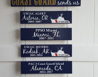 Home is where the Coast Guard sends us/you/me -  Coastie Life, Patriotic Wall Décor, Military Retirement Gift, Duty Station Sign
