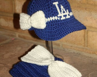 Girls Baseball BABY hat and big bow diaper cover, Girls Baseball Baby Hat, DODGERS inspired (Handmade by me and not affiliated with the MLB)