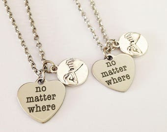 set of 2 pinky promise necklace - no matter where  necklace - bff necklace - friendship necklace - sister gift  - couple necklace
