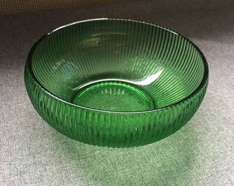 E. O. Brody Emerald Green Glass Ribbed Bowl - 1960s Vintage