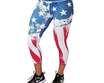 American Flag Capri Leggings - Workout Leggings - Fitness Tights