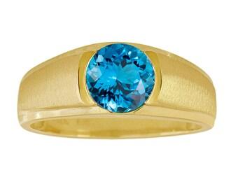 10K Yellow Gold Ring, Blue Topaz