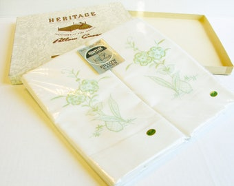 Heritage Cotton Pillow Cases, Pair of Full Standard Size New in Box, Green Embroidered Flowers in Vase, Made in China, Vintage Bedding Linen