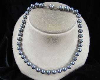 Vintage Gray Glass Beaded Necklace