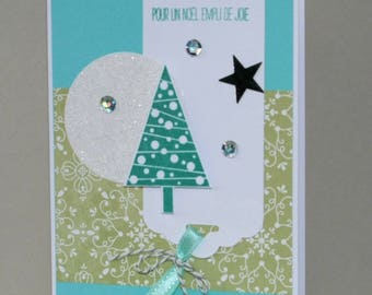 Greeting card - Christmas - trees - turquoise background