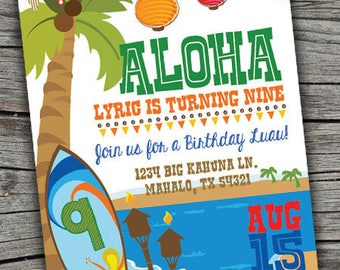 Luau Invitation/ Hawaiian Luau Party Invitation / Kid's Printable Birthday Party/ Luau Invite/ Beach Party Invite