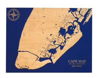 Cape May Chart - 8x10 | Cape May New Jersey | Wood Wall Art | New Jersey Art | New Jersey Gifts | Nautical Decor | Made in Maine