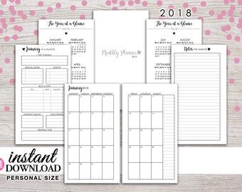 Planner Printable - 2018 Monthly Inserts - Filofax Personal - Kikki K Medium - 3.75 x 6.75 in. - Design: Wanderlust