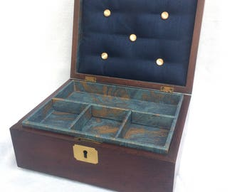 "Antique Mahogany Box, Brass Inlay, New Paper Lining & Cushioned Lid, 10"" x 7.75"" x 4.25"" Excellent Condition, Sewing, Keepsake, Jewelry Box"