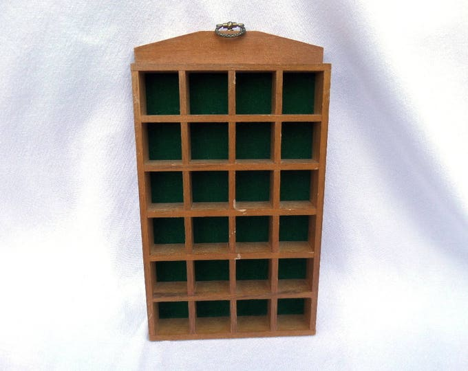 """Wooden Thimble Holder, 24 Section Wall Miniature Display Case, 9.75"""" x 5.75"""" x 1"""", Gold Metal Hoop, Green Felt, Good Vintage Condition"""