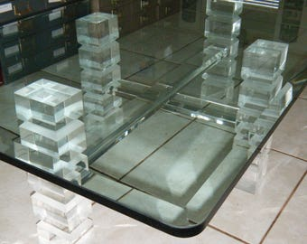 Vintage Mid Century Modern Lucite Coffee Table Base Thick Glass Top