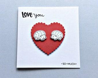Wife, Girlfriend, Boyfriend, Husband, Cute Anniversary Card, Hedgehog Card, Cute Love Card, Romantic Hedgehogs LU301