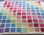 Pattern: Crochet rainbow granny square baby blanket throw