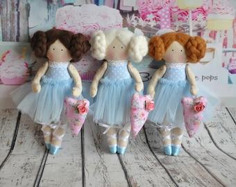 tilda, tilda doll, ballerina, fabric doll, handmade doll, rag doll, poupée ballerine, gift for little girl, bambole stoffa, home decoration
