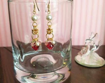 Valentine Pearls and Crystals Earrings