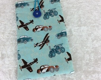 Cars Planes and Steam Large Phone Glasses Case fabric elastic button Handmade in England