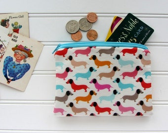 Bright Weiner Dogs Novelty Coin Purse, Zipper Bag, Medicine Bag, Pacifier Bag, Small Make Up Bag, Zipper Bag Storage, Fabric Wallet