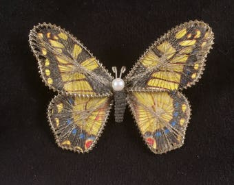 Butterly Pin, Vintage Silver Filigree Trimmed, Pearl, 1940s Butterfly Brooch, Silver Filagree Trim, Wire Wrapped Wings, Ships Free in U.S.