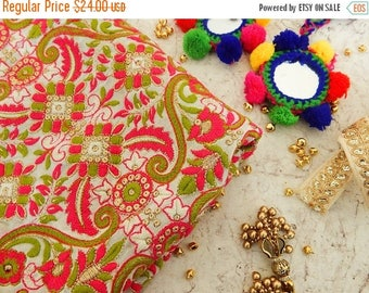 5% off Half Yard- Boho Embroidered Fabric, Off-White Georgette Fabric, Indian Embroidered Fabric, Floral Fabric with Zari Work