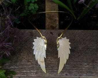 Two Mother Of Pearl Wings, Solid NeckPiece, HandCarved