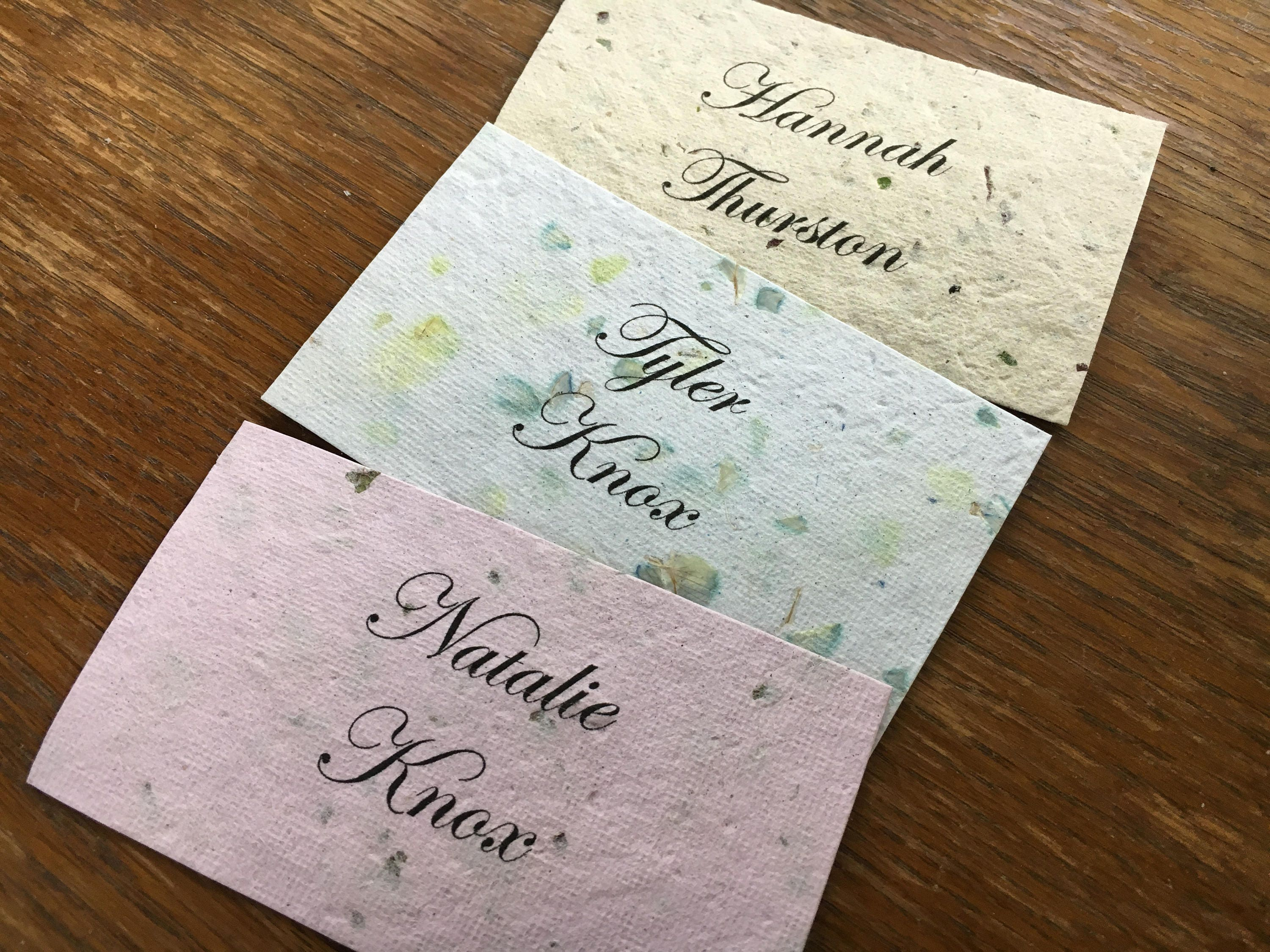 eco friendly wedding placecards 100 pcs handmade recycled