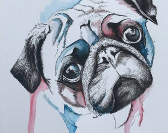 Hand-painted Pug card