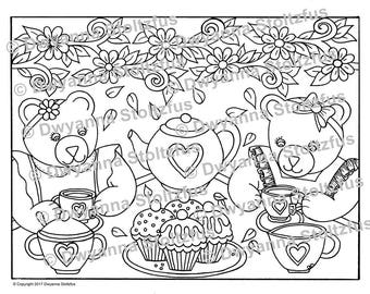 teddy bear tea party coloring pages pdf