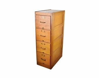 1900s Golden Quarter Sawn Oak 4-Drawer Filing Cabinet by Derby Desk Co.