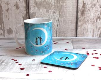 Valentines mug and coaster, Gift set, Valentines Mug, Love is in the air, Uk Seller.