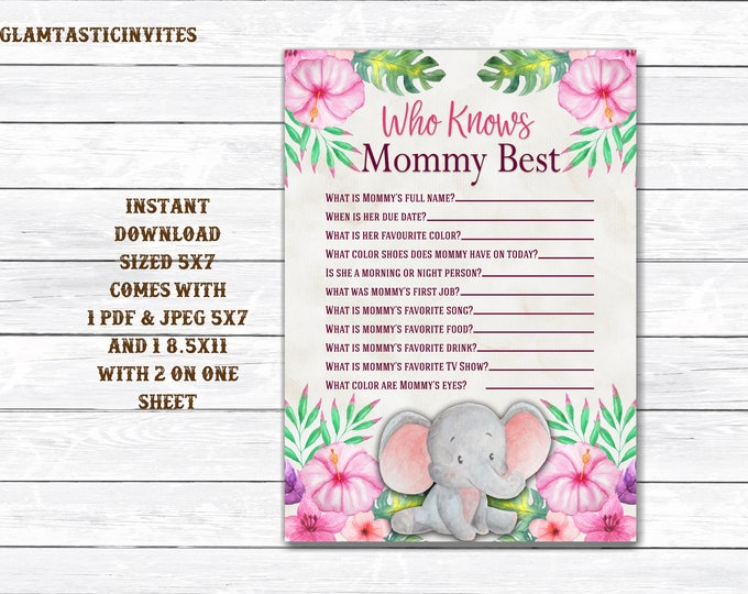 Who knows Mommy Best Jungle Baby Shower Game, Who knows Mommy Best Safari Baby Shower Game, Baby Shower Game, Who Knows Mommy Best Game