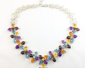 """50% Off Mothers Day Sale Sterling Silver 106 Carats tw Genuine Gemstone Necklace 15.5""""-18"""" long"""