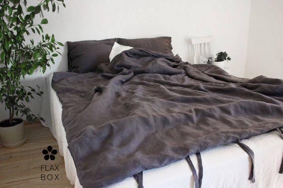listing for danette linen dark grey bedding set duvet cover. Black Bedroom Furniture Sets. Home Design Ideas