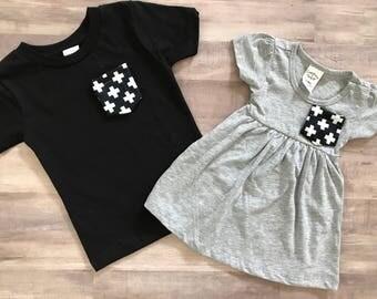 Matching Pocket Tshirts, Sibling Set, Black & White Crosses